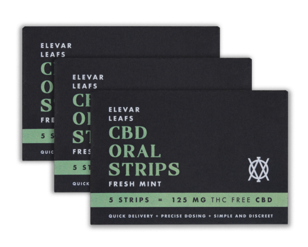 Elevar Hemp CBD Fresh Mint CBD Oral Strips 3 Pack Front