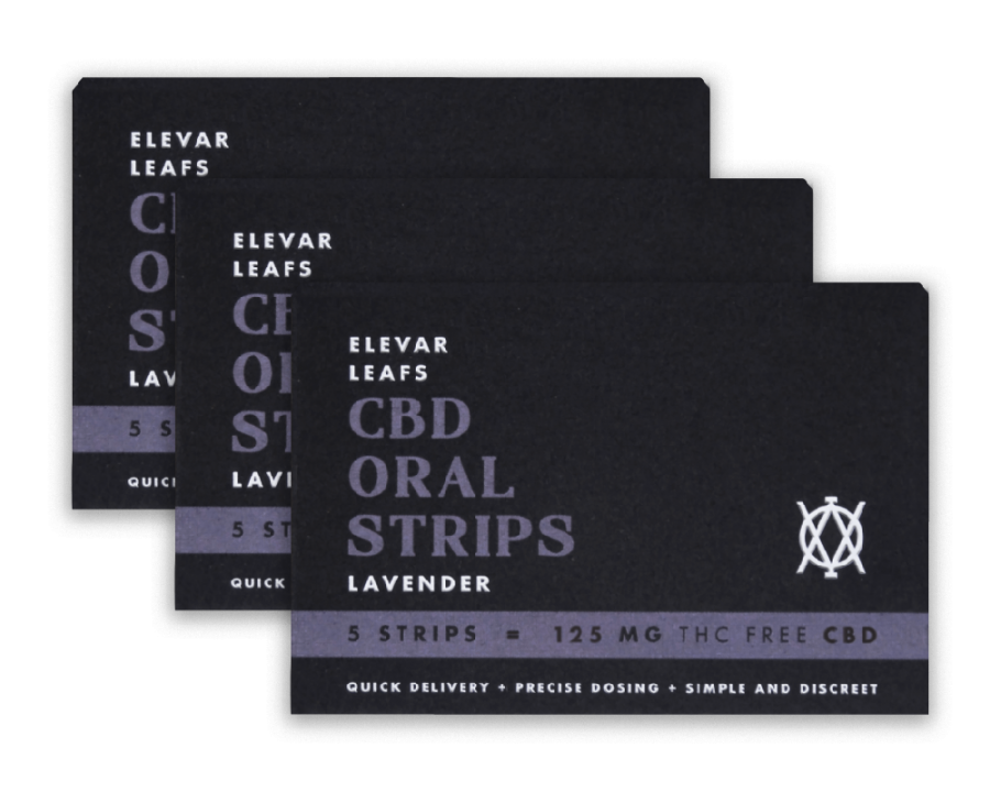 Elevar Hemp CBD Lavender CBD Oral strips 3 Pack Front
